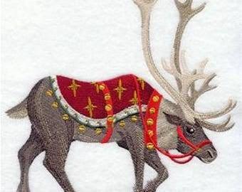 Reindeer Towel - Victorian Towel - Christmas Towel - Embroidered Towel - Flour Sack Towel - Hand Towel - Bath Towel  - Apron