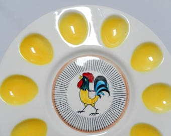 deviled egg plate, 1950s ceramic, Davar Japan, serving platter, chicken rooster eggs, home decor, kitchen
