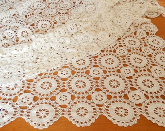 """vintage crocheted tablecloth, off-white, oblong 96"""" x 60"""", table linens"""