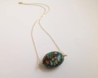 Green Mosaic Bead and Gold Necklace