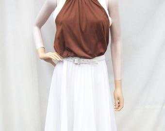 SALE 60s Pleated Dress size Small Medium Tie Back Dress Sleeveless Sundress