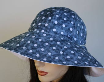 Reversible Cottage Hat wide brim sun hat in blue polka dots plus adjustable fit or chinstrap great for boating