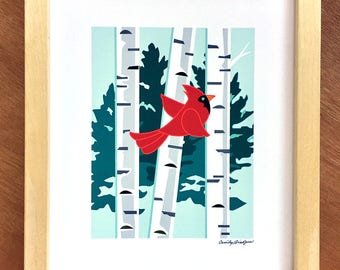 Cardinal and Birch Art print