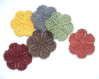 Fall Decor, Thanksgiving Decor Crocheted Coasters Doilies Glass Mats Autumn Tabletop Decor Fall Decorations Country Home Decor Cottage Decor