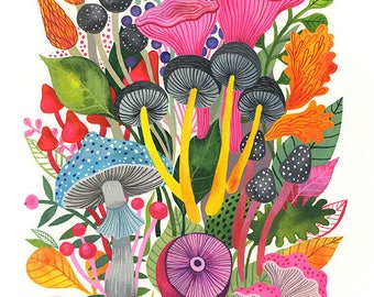 Mushrooms Bouquet... - limited edition giclee print of an original watercolor illustration (8 x 10 in)