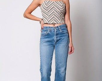 40% OFF The Vintage Striped Cropped Spaghetti Strap Tank