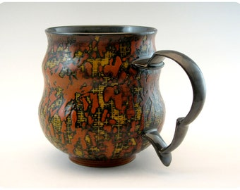 Etched Porcelain Mug with Splatter and Carved Handle