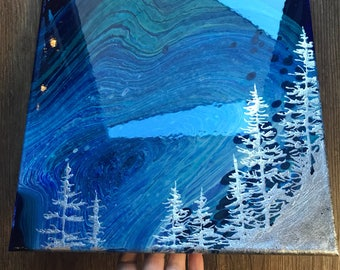 80 Fluid Silver Abstract Painting - 12x12 Silver Forest Night Sky Abstract with Resin