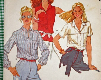 Vintage 1970s Sewing Pattern, McCall's 6608, Misses' Blouses, Misses' Size 8, Bust 31 1/2""