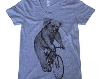 SUMMER SALE Koala on a Bicycle -  Womens T Shirt, Ladies Tee, Tri Blend Tee, Handmade graphic tee, sizes s-xL