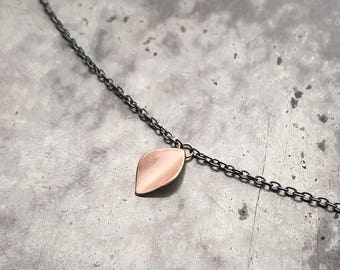 Gold Leaf md…petite 14k rose gold necklace on sterling silver chain