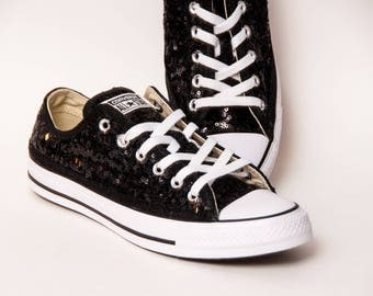 Tiny Sequin - Starlight Black Canvas Low Top Sneakers Shoes