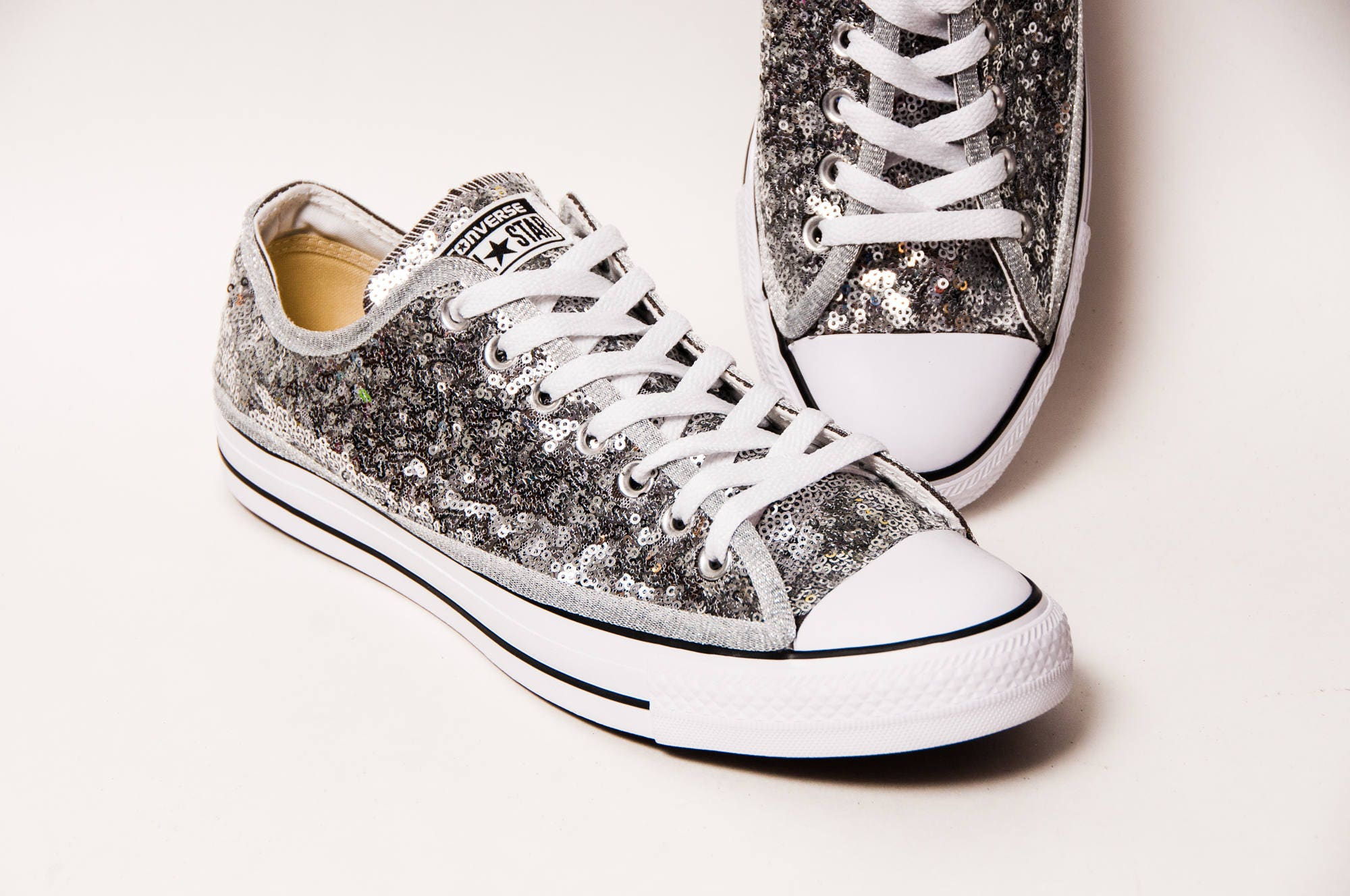 Tiny Sequin Silver Canvas Converse All Star Low Top with