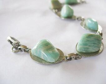 Amazonite Link Bracelet, Green, Microline, Silvertone, 1950's, Gemstone, Link Bracelet, Vintage jewelry
