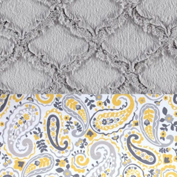 Adult Minky Blanket, Yellow Paisley Gray Throw Twin Blanket, Soft Blanket, Gray Paisley Blanket, Gift for Her, Kids Minky Blanket, Lattice