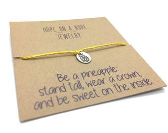 Pineapple Bracelet - Sterling Silver Pineapple Bracelet - Stand Tall Bracelet - Pineapple Charm - Cord Bracelet - Pineapple Jewelry