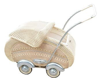 1950's Wicker Baby Carriage