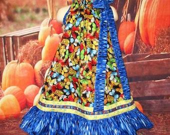 SALE Girls Dress 5/6 Butterflies Blue Swirl Pillowcase Dress, Pillow Case Dress, Sundress, Boutique Dress