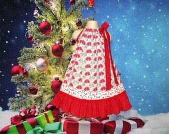 Girls Christmas Dress 4T/5 Red Blue Christmas Bells, Holly Berries Pillowcase Dress, Pillow Case Dress, Sundress, Boutique Dress