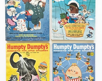 SOLD/RESERVED for A LOT of 4 Vintage Humpty Dumpty Magazines Back Issues 1965 and 1966 Boys Girls Children's Activity Books Advertising Ads