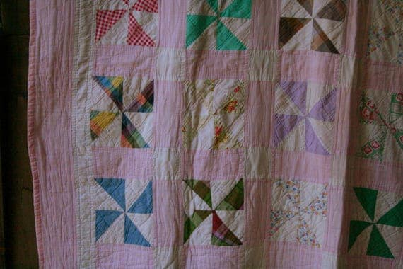 Antique PinWheel Quilt Queen Size Hand Made Between Around 40s Vintage From Nowvintage on Etsy