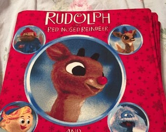 cHILDREN'S~CLOTH~BOOK~RUDOLPH~tHE~rED~nOSED~rEINDEER~sTORY~fOR~tHAT~sPECIAL~gRANDBABY~oR~cHILD~hANDMADE~