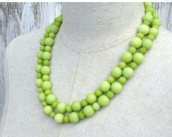 XMAS in JULY SALE Double Strand Lemon Lime Green Frosted Agate Beaded Chunky Necklace