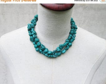 "XMAS in JULY SALE Dark Green Turquoise Nugget Necklace,  Chunks Double Strand Statement ""Megan""  , Fox"