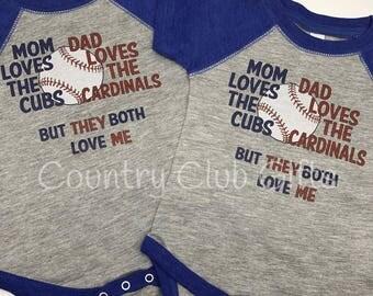House Divided, Cardinals, Cubs t shirt, baseball shirt. bodysuit shirt, baby gift, sports rivals