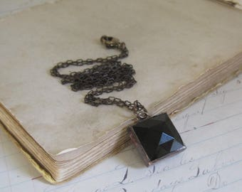 Square Black Faceted Glass Pendant Stained Glass Jewelry