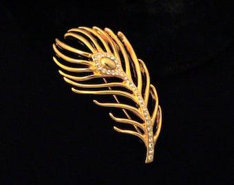 Vintage MONET Rhinestone Feather Brooch