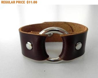 Dark Brown Leather Bracelet Leather Cuff Leather Bangle with Metal O Ring