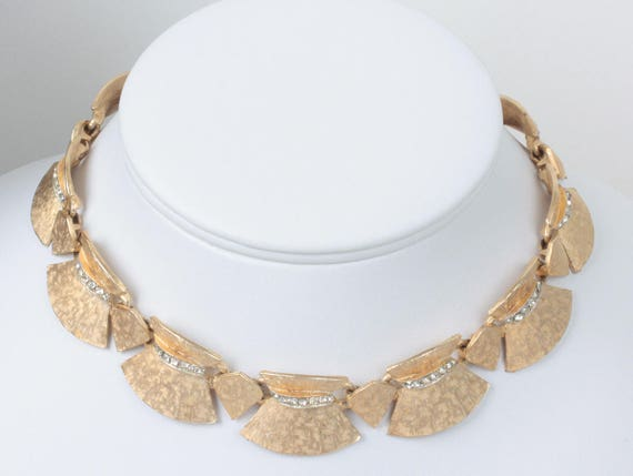 ART Signed Choker Necklace Clear Rhinestones Gold Tone Articulated Vintage