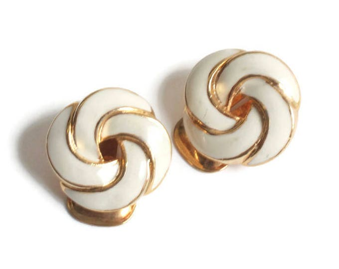 Ivory Off White Enameled Earrings Swirls Pinwheels Clip Back Vintage