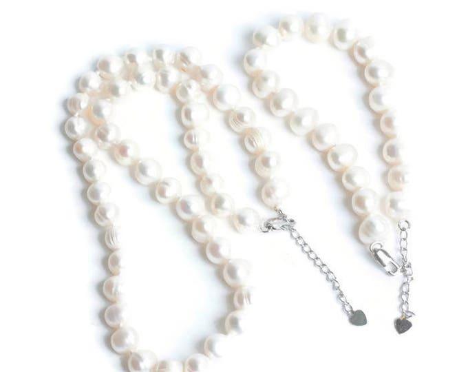 Freshwater Pearl Bracelet Silver Heart Dangle Vintage