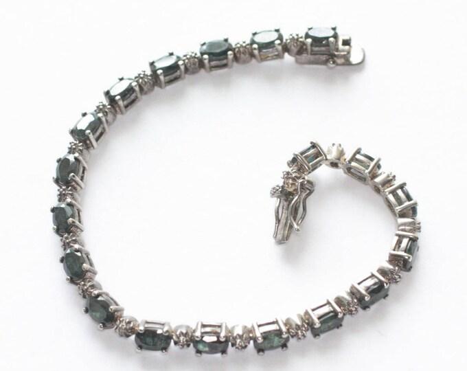 Sapphire Gemstone Tennis Bracelet Sterling Silver Signed DBJ 925