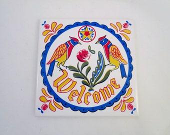 Vintage Welcome Tile - White Square Ceramic Tile Wall Hanging - Pennsylvania Dutch Swedish Style - Colorful Birds Folk Art Trivet Hex Sign