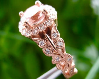 Butterfly on Vine Engagement Ring in 18K Rose Gold with Round Morganite Center Stone and Small Diamonds Size 5