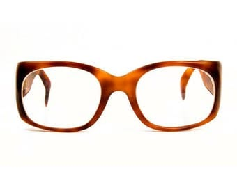 1980s Lugene Tortoise Shell Brown Thick Plastic Polycarbonate Vintage Frames Eyeglasses Rista Made in France
