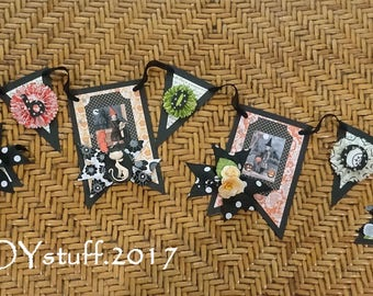 little witches - BOO - Halloween garland banner pennants - vintage style -  NO065A