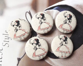 Storybook Fairy Tale Red Striped Dress Alice Girl In Wonderland-Handmade Fabric Covered Buttons(1.1 Inches, 5PCS)