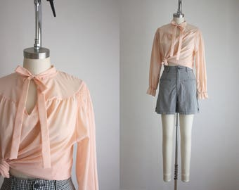 1970s blush poet blouse