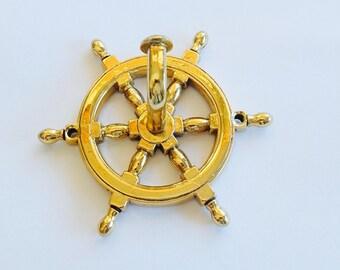 Brass Nautical Helm Coat Rack