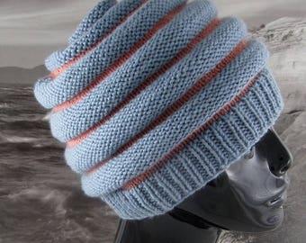 40% OFF SALE Instant Digital File pdf download knitting pattern - Stripe Beehive hat