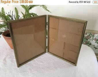 Christmas Sale Vintage Gold Frames 8x10 Double hinged Picture Frame 70s Wedding