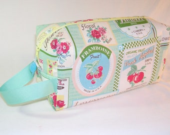 Fruit Labels in Mint Project Bag - Premium Fabric
