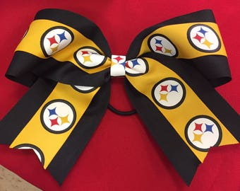 "Pittsburgh Steelers Cheer Bow  Football 7 1/2"" wide gold and black logo ribbon"