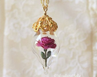 Magenta Pink Peony Flower Terrarium Glass Vial Necklace - 14kt. Gold Fill by Woodland Belle