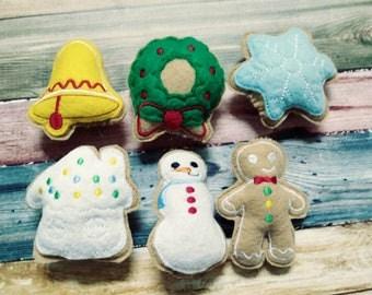 Felt Food - Felt Christmas Cookie - Pretend Food - Play Kitchen - fake food- Stocking Stuffer - snowflake - Stocking - Wreath - Gingerbread