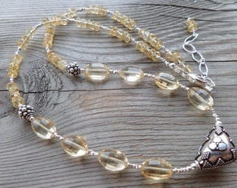 Amazing Citrine with Fine Silver High Quality Necklace with Bali Sterling Silver Necklace